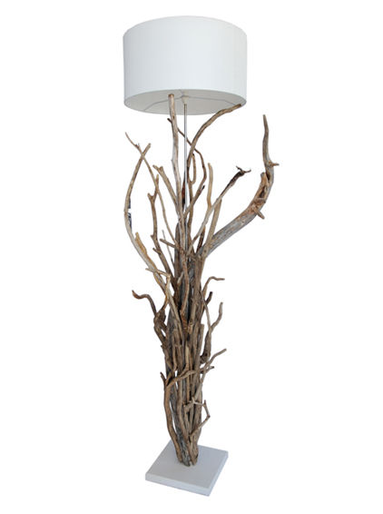 brushed steel and driftwood lamp